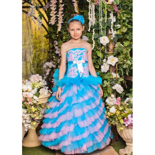 Детское платье для девочки нарядное бирюзовое с розовым
