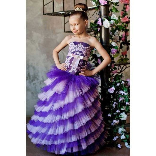 Длинное праздничное платье для девочки фиолетовое с розовым