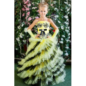 Длинное платье для девочки желтое с черным