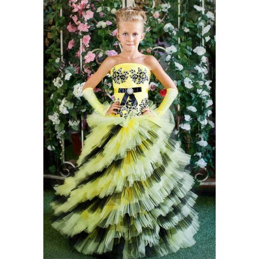 Красивое нарядное платье для девочки желтое с черным