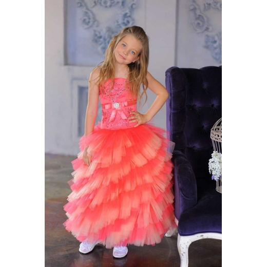 Стильное платье для девочки коралловое