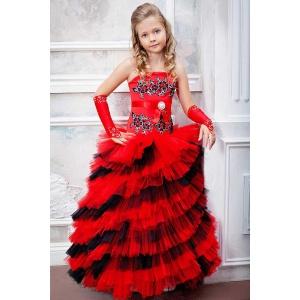 Платье в пол платье для девочки красное с черным