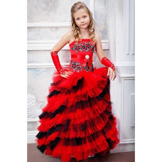 Красное пышное платье для девочки