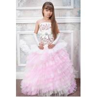 Бальное пышное платье для девочки молочное с розовым