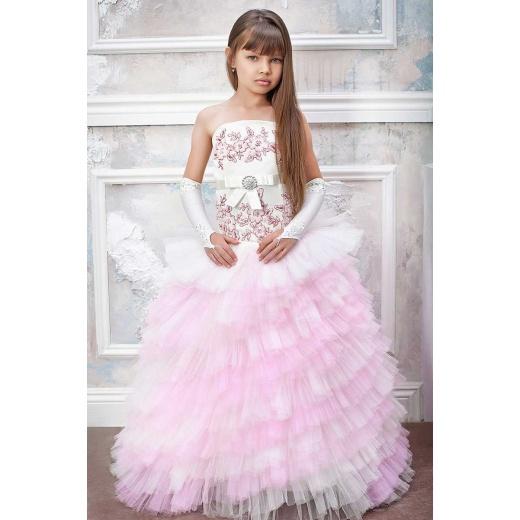 Стильное детское платье молочное с розовым