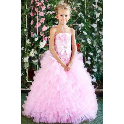 Пышное платье в пол для девочки розовое
