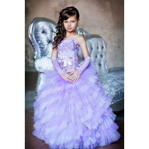 Вечернее длинное платье для девочки сиреневое