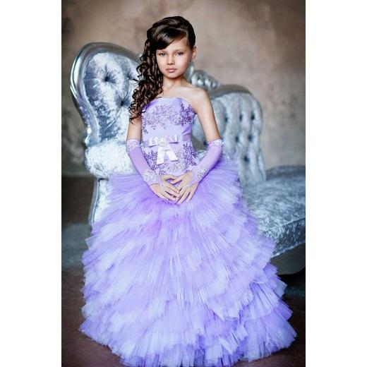 Нарядное платье с пышной юбкой для девочки сиреневое