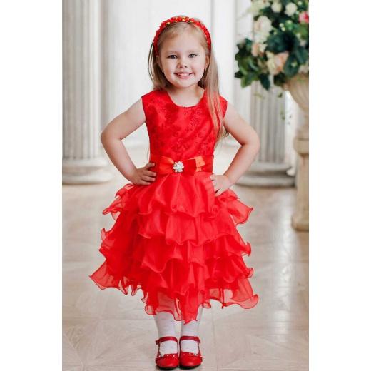 Детское пышное платье короткое красное