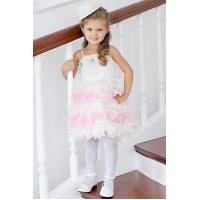 Пышное платье для девочки бело-розовое