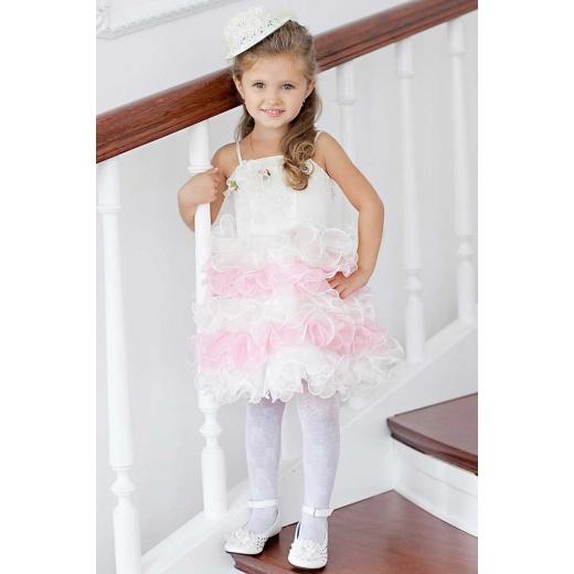 Праздничное платье малышам  бело-розовое