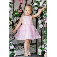 Нарядное кружевное розовое платье для девочки