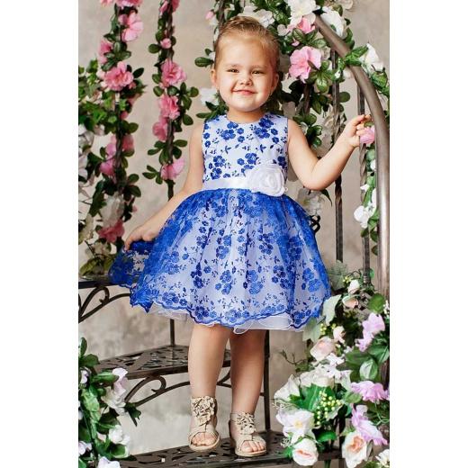 Красивое детское платье для девочки синее