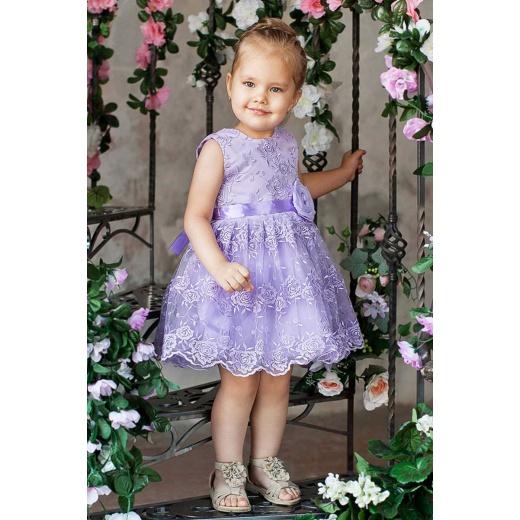 Стильное нарядное платье для девочки сиреневое