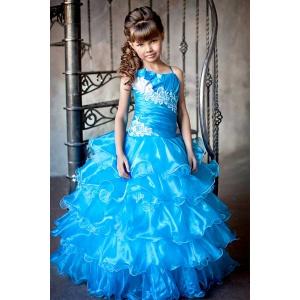 Пышное платье с рюшами для девочки бирюзовое