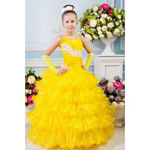 Детское бальное платье желтое