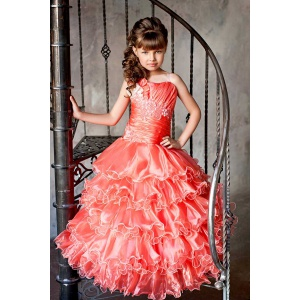 Бальное платье в пол для девочки коралловое