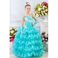 Праздничное бальное платье для девочки морская волна