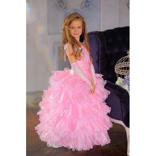 Красивое детское бальное платье розовое