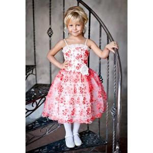Нарядное коралловое платье с кружевом для девочки