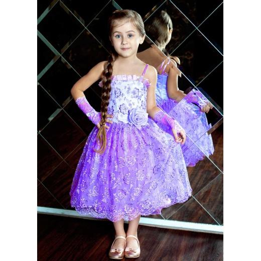 Красивое праздничное платье для девочки сиреневое