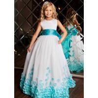 Нарядное платье для принцессы белое с морской волной