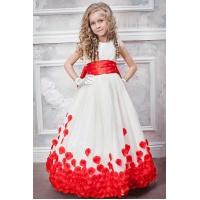 Бальное платье для девочки молочное с красным