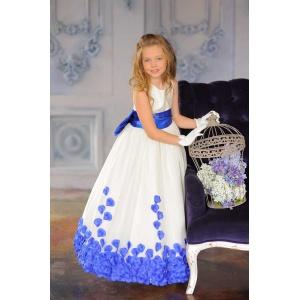 Пышное платье в пол для девочки молочное с синим