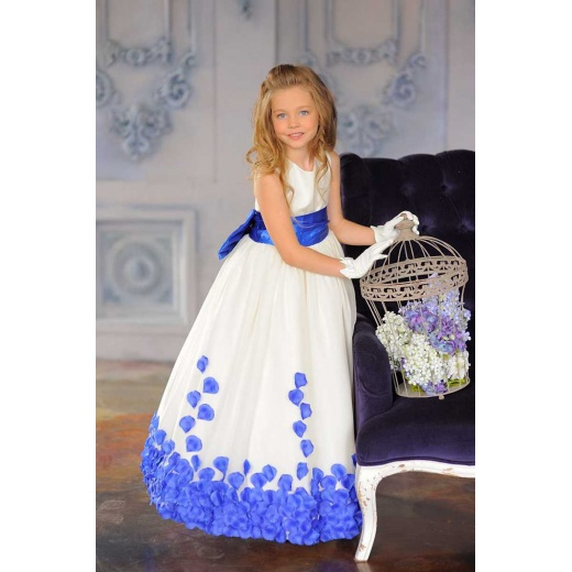 Бальное платье для девочки в пол молочное с синим