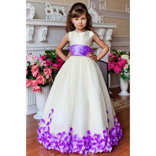 Праздничное платье для девочки в пол молочное с сиреневым