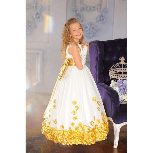 Красивое платье для девочки в пол молочное с золотом