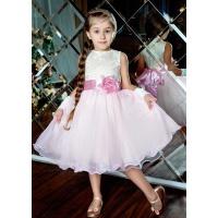 Вечернее платье для девочки розовое с молочным