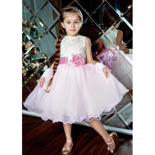 Детское пышное длинное платье розовое с молочным