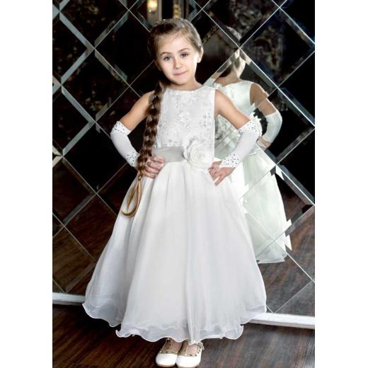 Пышное детское платье для девочки молочное