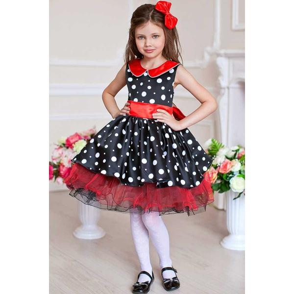 Платье нарядное в горошек для девочки черное с красным