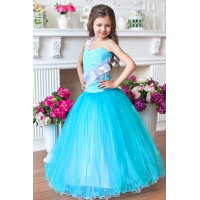 Нарядное длинное платье для девочки бирюза