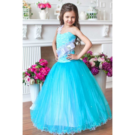 Платье для бала для девочки бирюзовое