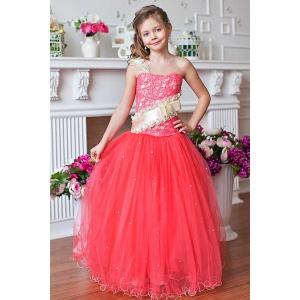 Пышное платье в пол для девочки коралловое