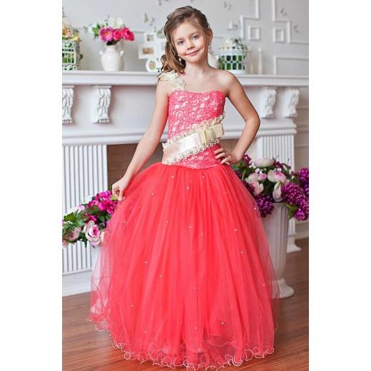 Длинное бальное платье для девочки коралловое
