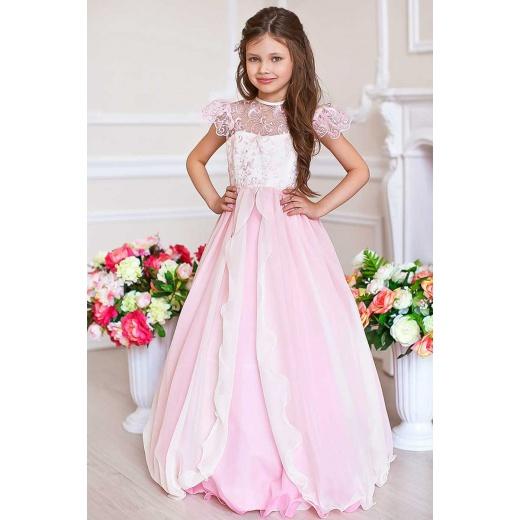 Детское бальное платье для девочки розовое с молочным