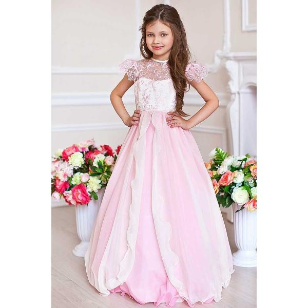 Пышное платье для девочки розовое с молочным