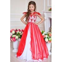 Длинное нарядное платье для принцессы красное с белым