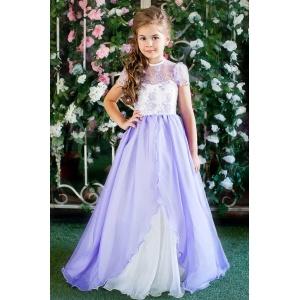 Платье в пол для девочки сирень с молочным