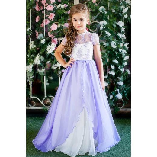 Платье для вальса для девочки сиреневое с молочным