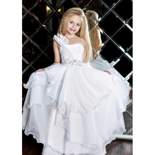 Белое бальное платье для девочки в пол
