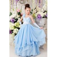 Длинное платье для девочки голубое