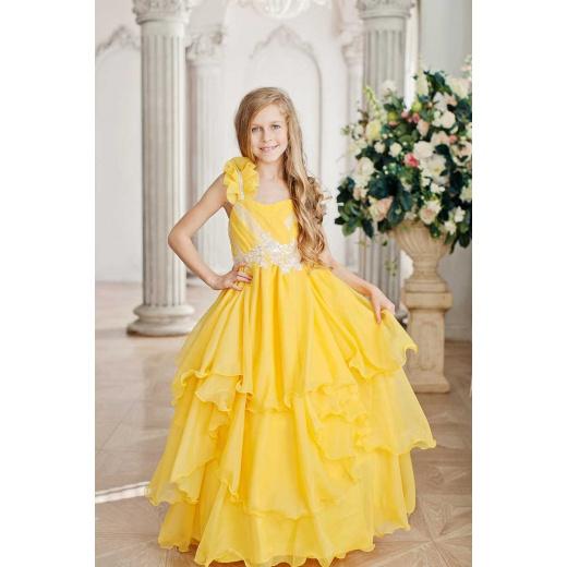 Платье в пол для девочки желтое