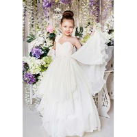 Бальное платье для девочки молочное