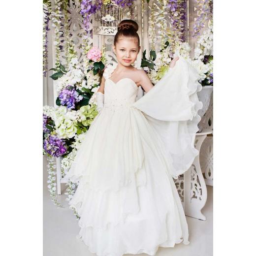 Нарядное длинное платье для девочки молочное