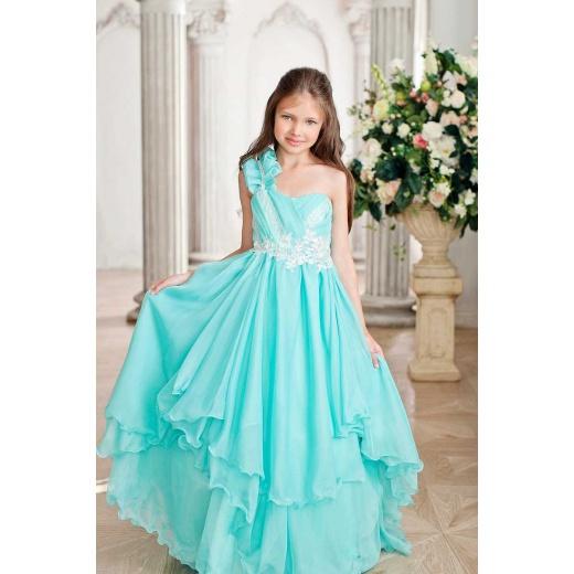 Детское длинное платье цвета морской волны